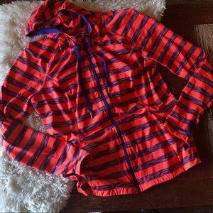 Lukka | Orange & Purple Striped Workout Hoodie